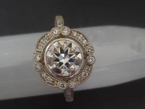 14k White Gold Moissanite Ring, OEC 8mm round Vintage Inspired Engagement Ring,