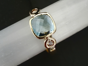 14k yellow Gold Aquamarine and Diamond Ring 8mm Cushion Rose Cut Three Stone Rin