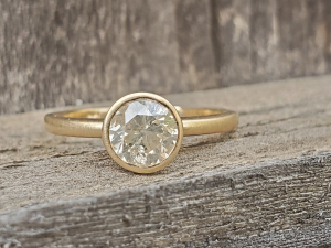 14k Yellow Gold Salt and Pepper Diamond Ring, Alternative Engagement Ring, Natur