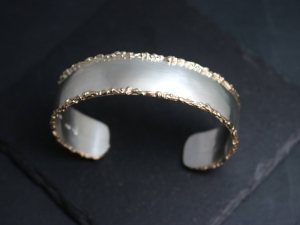 Sterling Silver & 14k Yellow Gold Cuff Bracelet, Fused Gold Edging, Organic Twig