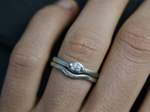 14k White Gold Marquise Diamond Ring, Wedding Ring, Stackable Ring, Modern, Mini