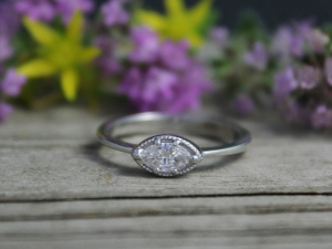 14k White Gold Marquise Diamond Ring, Vintage Inspired Ring, East West Marquise,