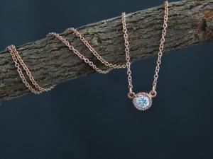 14k Rose Gold Moissanite Pendant Necklace, Moissanite Solitaire, Textured Bezel