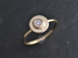 14k Yellow Gold Diamond Ring, Halo Engagement Ring, Stackable, Alternative Engag
