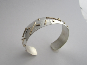 Sterling silver cuff bracelet with fused14kt yellow gold, handmade bracelet, art