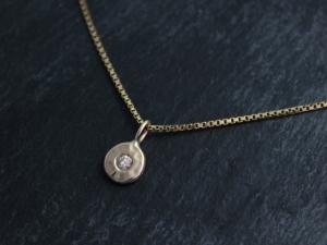 Champagne Diamond Coin Pebble Necklace, 14k Yellow Gold Diamond Pendant, Conflic