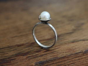 White Akoya Pearl Solitaire Ring, Sterling Silver Pearl Ring, Organic Free Form,