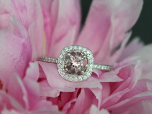 14k White Gold Morganite Diamond Halo Ring, Alternative Engagement Ring, Eco Fri