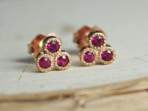 14k Rose Gold Ruby Three Stone Stud Earrings, Trio Stud Earrings, Ruby Studs, Tr