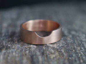 14k Rose Gold Cut Out Wedding Band, 6mm Wide Flat Band, Brushed Gold, Matte Gold