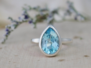 Sterling Silver Pear Shape Blue Topaz Ring, Solitaire Blue Topaz, December Birth