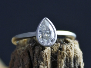 14k White Gold Pear Shape Moissanite Ring, Solitaire Pear Cut Moissanite, Bridal
