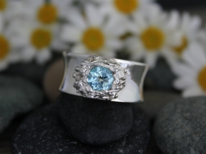 Sterling Silver Blue Topaz Ring, Organic Ring, Concave Ring Band, Eco Friendly,