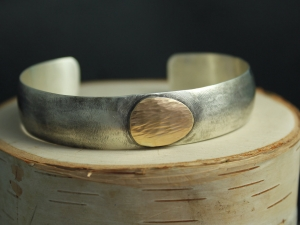 Sterling Silver & 14k Yellow Gold Cuff Bracelet, Wide Silver Cuff, Free Form, Go