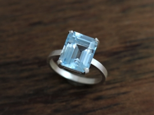 Octagon Emerald Cut Sky Blue Topaz Ring, 9mm x11mm, 5.80 carat, Sterling Silver