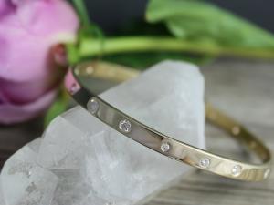 14k Yellow Gold Diamond Bangle Bracelet, Small-Medium Bangle Bracelet, Handmade
