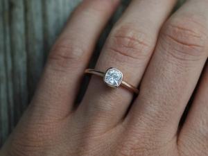 14k Rose Gold 6mm Moissanite Ring, Cushion Cut 6mm Bezel Set Ring, Diamond Alter