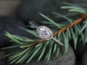 14k White Gold Moissanite Ring, Oval Vintage Inspired, East to West Engagement R