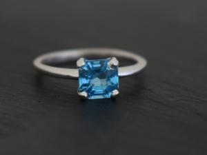 Swiss Blue Topaz Ring, Asscher Topaz 6mm , Blue topaz solitaire, Alternative Eng