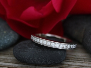 14k White Gold Diamond Wedding Band , Anniversary Ring, Eco Friendly, stackable