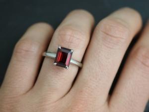 14k White Gold Garnet Prong Ring, Emerald Cut Garnet Solitaire, Prong Ring, Janu