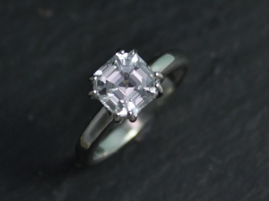 14k White Gold Asscher Cut White Topaz Ring, Diamond Alternative, Alternative En