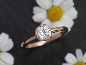 14k Rose Gold 5mm Moissanite Ring, Cushion Cut Bezel Set Ring, Diamond Alternati
