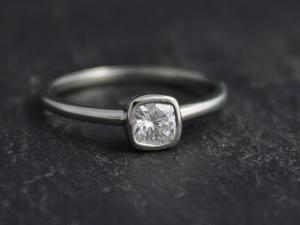 4.5mm Moissanite in 14k White Gold, Forever One Moissanite, Diamond Alternative
