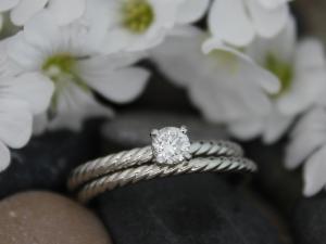 14k White Gold Diamond Engagement Ring, Stackable  Ring, Rope pattern band,  Bri