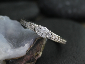 14k White Gold Marquise Diamond Ring, East West Marquise, Vintage Inspired Engag