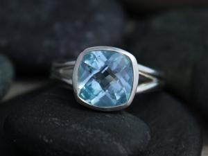 Sterling Silver Bezel Set Sky Blue Topaz Ring, 9mm Square Blue Topaz Ring, split