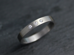 14k White Gold & Diamond Band, 3mm Solid Gold Stackable Ring, Universal Wedding