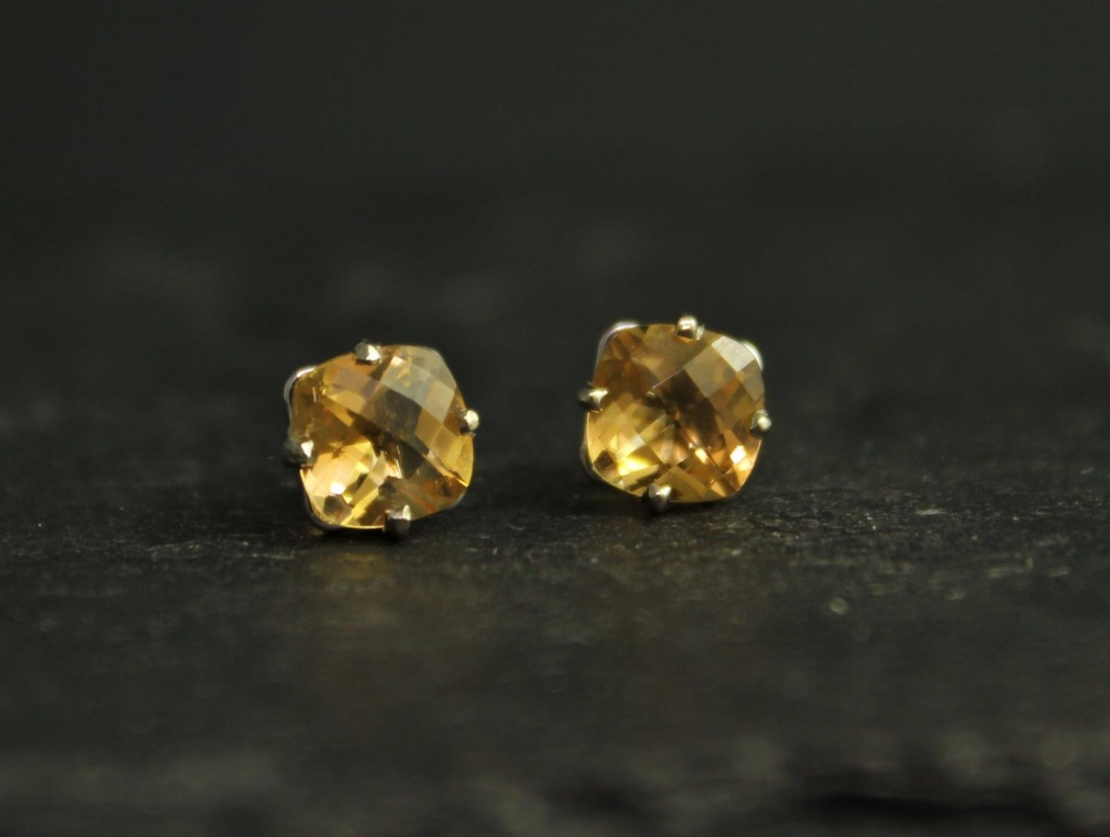 Citrine 14k White Gold Stud Earrings 6mm Cushion Cut November Birthstone Ready To Ship