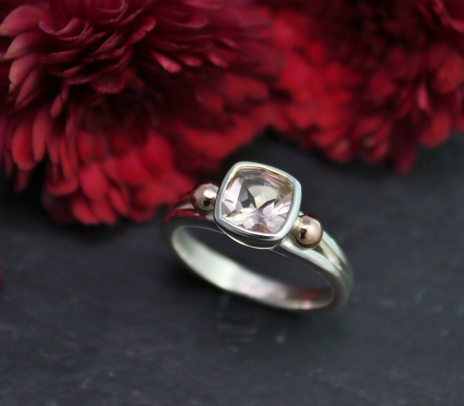 Cushion Cut Morganite Ring Sterling Silver Rose Gold Pink Gemstone Split Shank Two Tone Morganite Solitaire