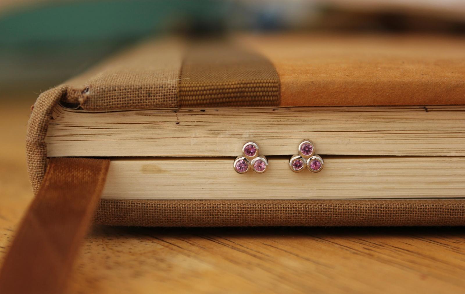 0d9b6db96 Pink Sapphire Three Stone Studs, 14k White Gold Studs, Pink Gemstone  Earrings, Pink Trio Studs, Ready to Ship | Theresa Pytell | Jewelry Design