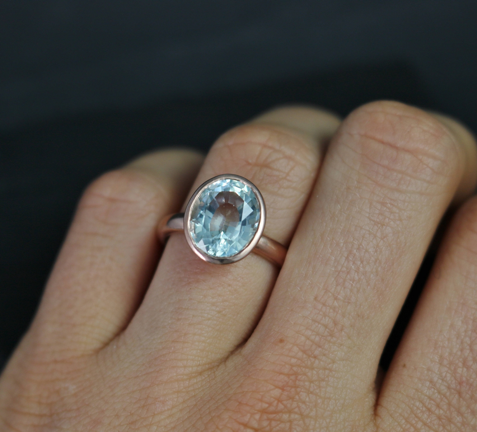 Aquamarine And 14k Rose Gold Ring, Oval Aquamarine