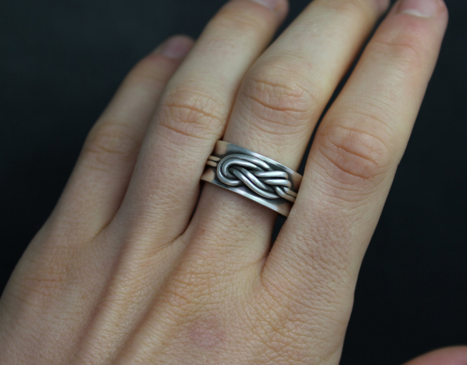 Double Infinity Knot Ring Figure Eight Knot Ring Love Knot Ring Sterling Silver 10mm Wide Band Climber S Knot Ready To Ship Size 9 Theresa Pytell Jewelry Design
