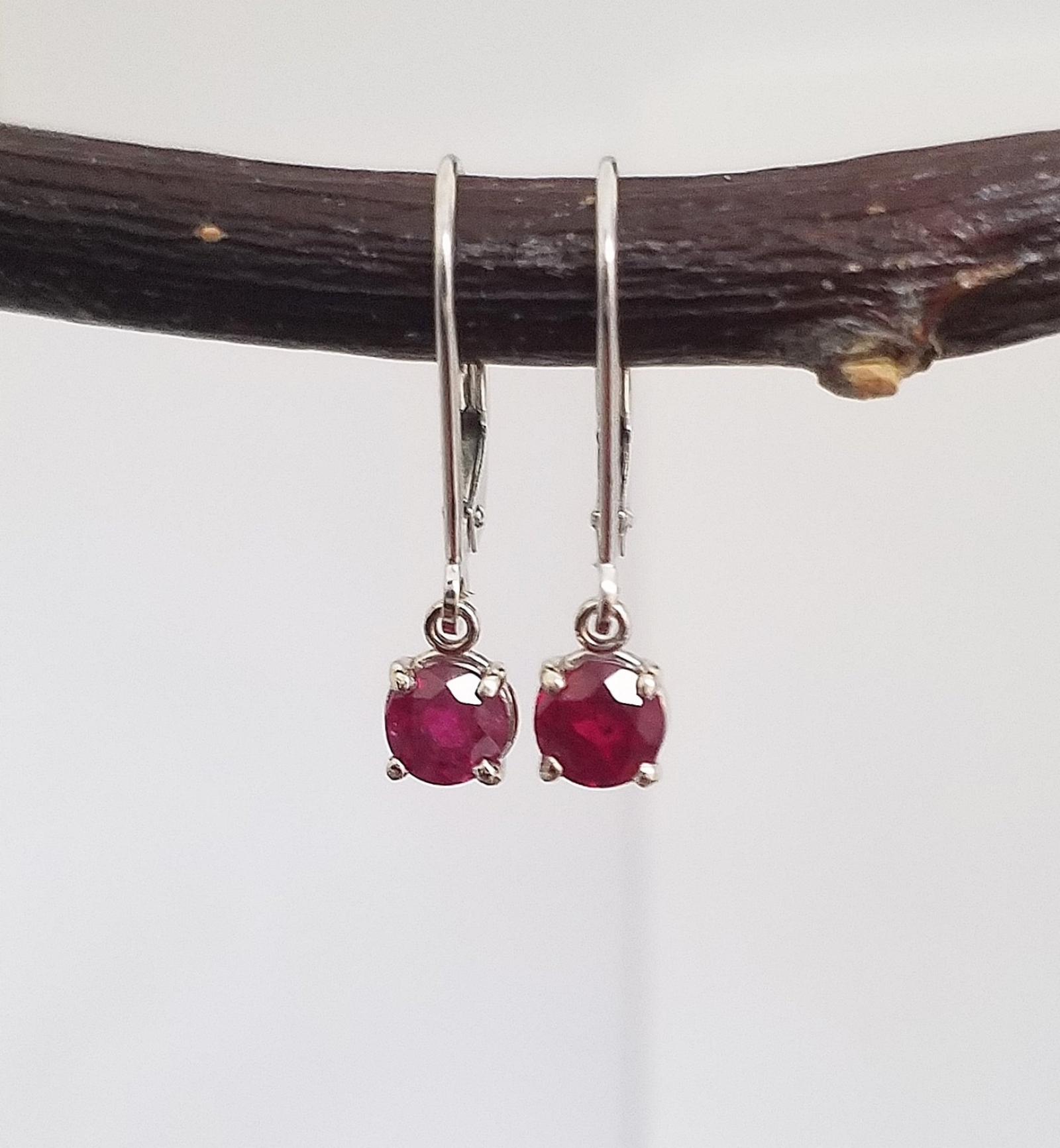 Genuine Ruby Dangle Earrings White Gold Gemstone Leverback July Birthstone Real Ready To Ship