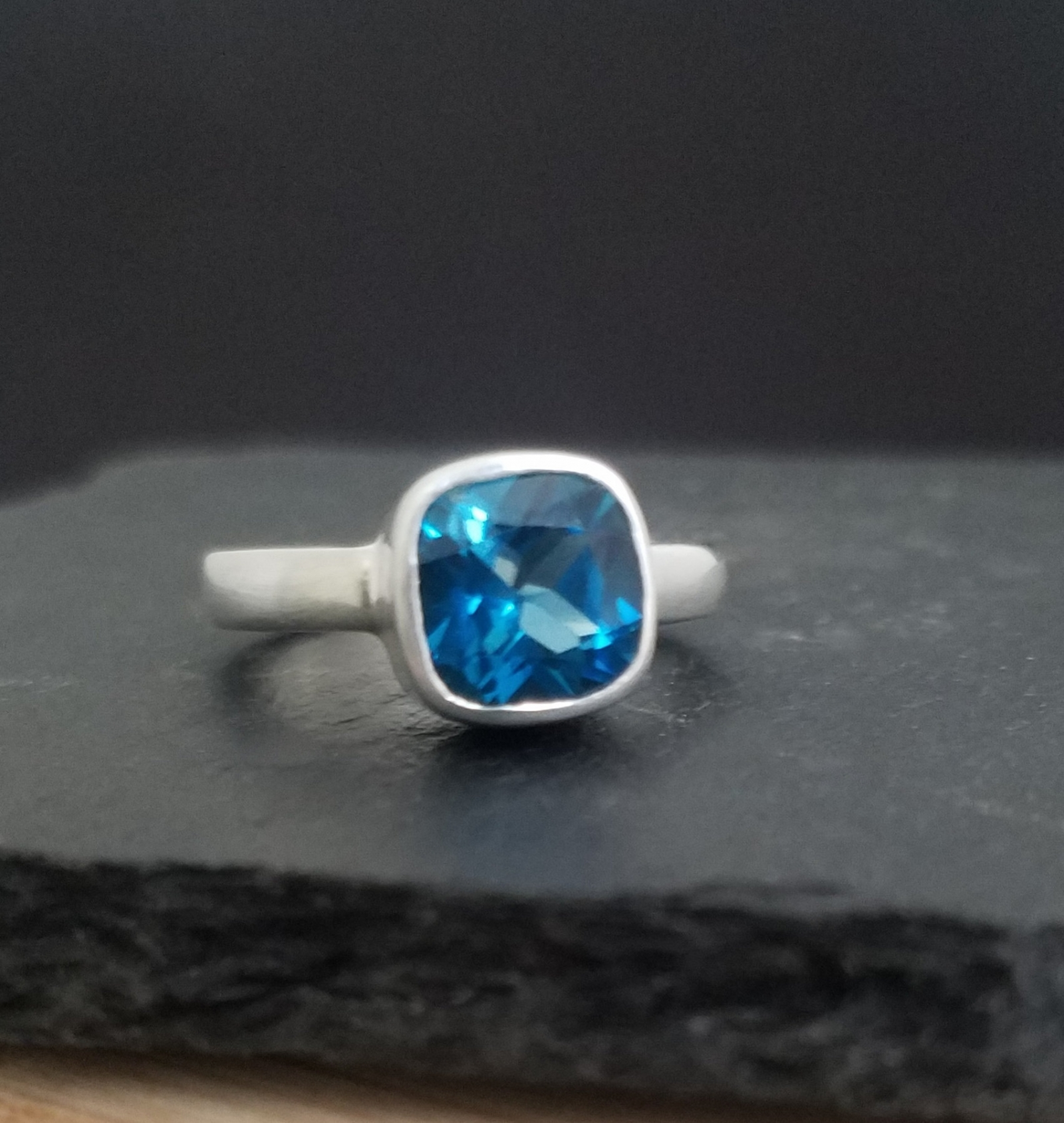 Cushion Cut London Blue Topaz Ring Sterling Silver Ring Blue Topaz Solitaire Cocktail Ring Ready To Ship Size 7