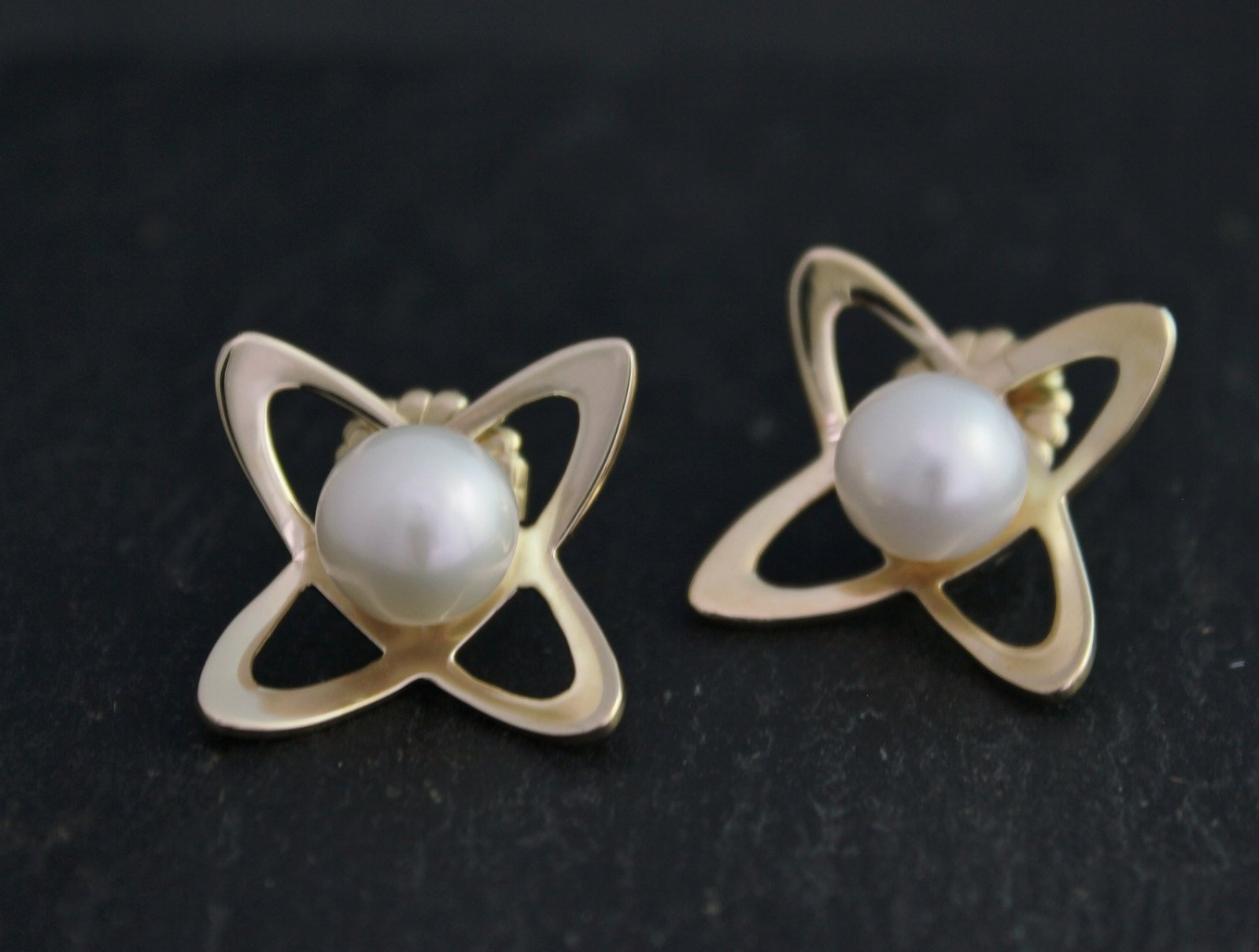 06969b895 Atomic Pearl Earrings, 14k Yellow Gold and Cultured White Akoya Pearl, Abstract  Stud Earrings, Abstract Flower Earrings, Ready to Ship | Theresa Pytell ...
