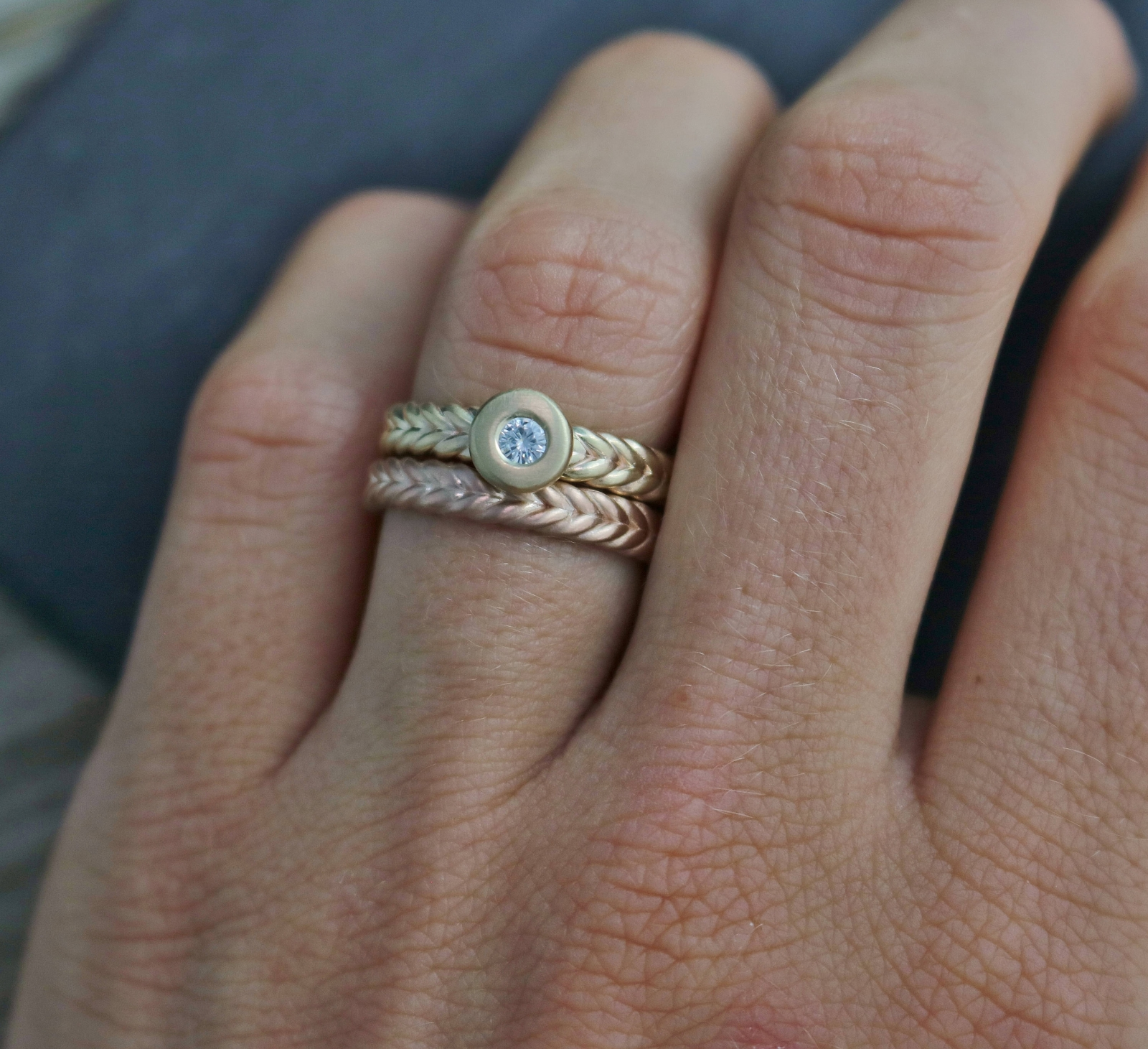 custom made to order Braided Sterling Silver Stacking Ring