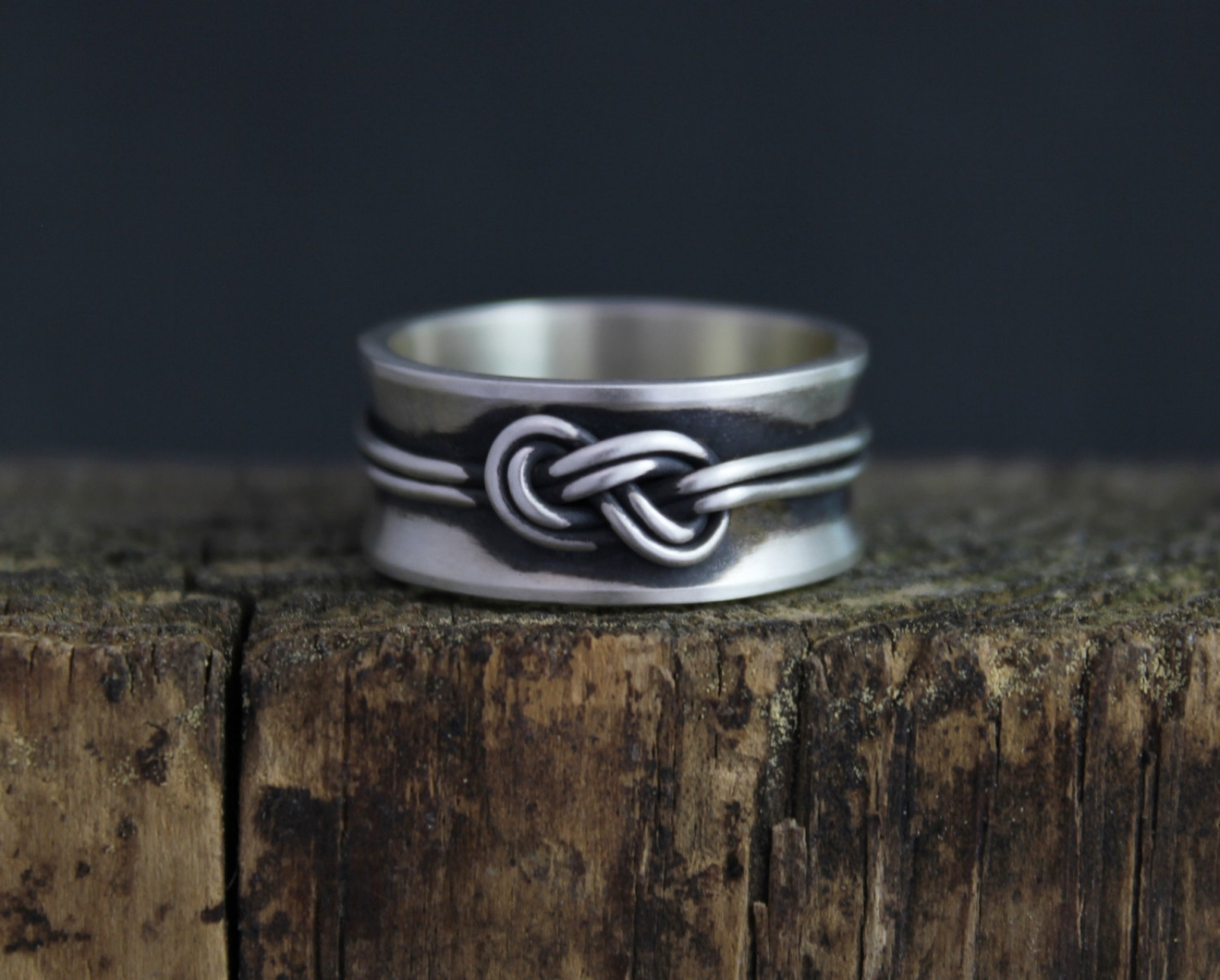 Double Love Knot Ring Figure Eight Knot Ring Infinity Knot Ring 10mm Wide Band Climbers Knot Oxidized Silver Band Ready To Ship Sz 10 Theresa Pytell Jewelry Design