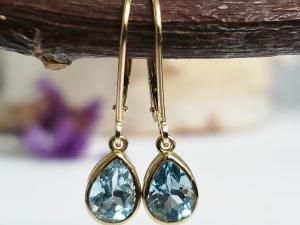 Sky Blue Topaz Dangle Earrings, Yellow Gold Earrings, Pear shape Blue Topaz, Lever back Earrings, Gemstone Earrings, Ready to Ship