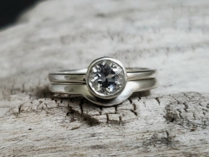 Sterling Silver White Topaz Ring Solitaire White Topaz Alternative engagement Ring Ready to Ship Size 7 with matching band.