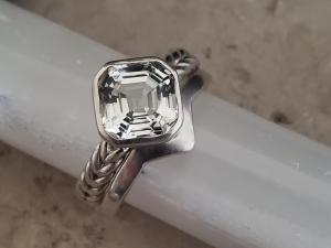 Asscher Cut WHITE Topaz Ring, 8mm Asscher Cut Asscher bezel ring asscher solitaire braided silver silver asscher made to order