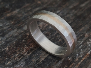 5mm Hammered yellow Gold and Silver Ring, Wedding Band, Gold Inlay Ring, Men's Ring, Sterling Silver 14k yellow Gold, Made to order