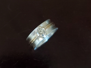14k Yellow Gold  Silver 8mm wide ring,  5.5mm size  Charles & Colvard Moissanite, Alternative Diamond Engagement , Made to Order