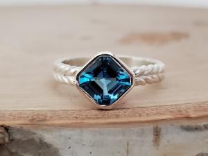 Asscher Cut Swiss blue Topaz Ring, 7mm Asscher Cut Asscher bezel ring asscher solitaire braided silver silver asscher made to order
