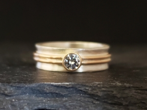Sterling silver 14kt yellow gold Charles and Colvard moissanite ring READY TO SHIP 5.75, 6 alternative engagement two-tone stacking ring