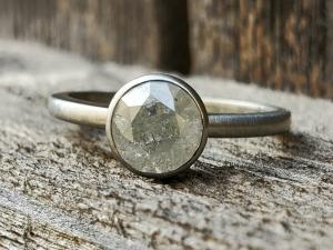 14k White Gold Salt and Pepper Diamond Ring, Alternative Engagement Ring, Natural Diamond ring, 1.11 carat diamond OOAK